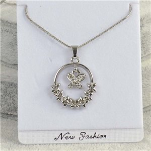 Collier Pendentif IRIS Strass chaine maille serpent L40-45cm Collection 2018 75156