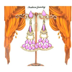 1p earrings studded with Rhinestones Collection ATHENA 8cm 75212