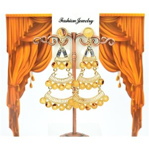1p earrings studded with Rhinestones Collection ATHENA 8cm 75217