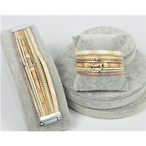 Bracelet Manchette Strass multirang L19cm Collection Ancre de Marine fermoir aimanté 30mm 75330