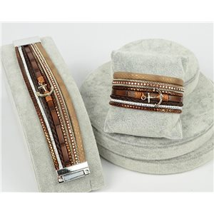 Bracelet Manchette Strass multirang L19cm Collection Ancre de Marine fermoir aimanté 30mm 75336