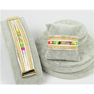Bracelet Manchette Strass multirang L19cm Collection Bijou Plumes fermoir aimanté 30mm 75338