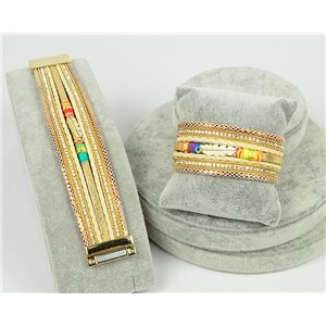Bracelet Manchette Strass multirang L19cm Collection Bijou Plumes fermoir aimanté 30mm 75343