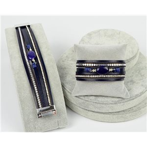 Bracelet Manchette Strass multirang L19cm Collection Bijoux Pierre fermoir aimanté 25mm 75352