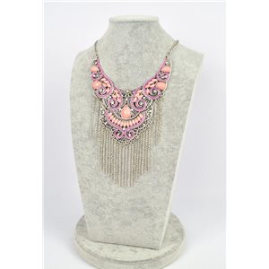 Collier ATHENA métal argenté ciselé sertie de Strass New Collection Ethnique 75455