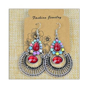 1p Earrings ATHENA silver plated metal set with Rhinestones New Ethnic Collection 75480