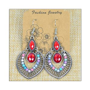 1p Earrings ATHENA silver plated metal set with Rhinestones New Ethnic Collection 75486