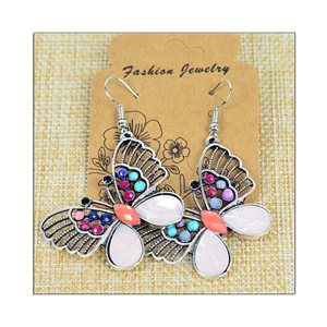 1p Earrings ATHENA silver plated metal set with Rhinestones New Ethnic Collection 75506