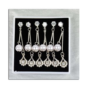 Box of 3p Earring Drop Earrings Cubic Zirconia L45mm 75626