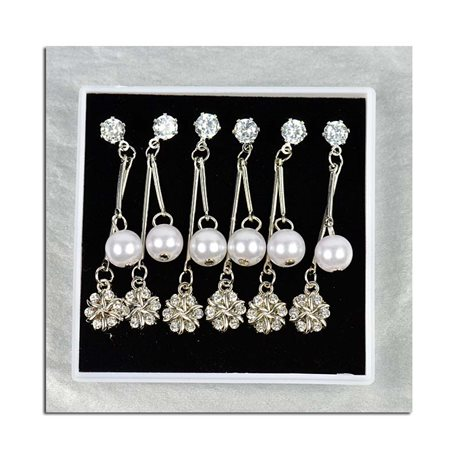 Box of 3p Earring Drop Earrings Cubic Zirconia L45mm 75628