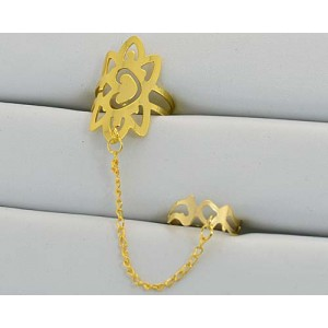 12 Double Rings Adjustable gold metal Phalanges 60971