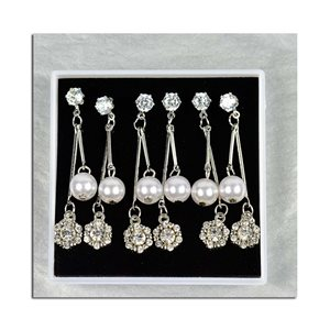 Box of 3p Earring Drop Earrings Cubic Zirconia L45mm 75629