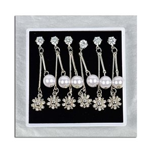 Box of 3p Earring Drop Earrings Cubic Zirconia L45mm 75631