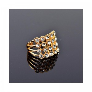 New Collection Adjustable metal ring set with golden colored rhinestone 75639