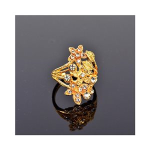 New Collection Adjustable Metal Ring Set with Golden Color Rhinestones 75647