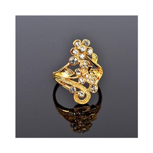 New Collection Adjustable metal ring set with golden color Rhinestone 75651