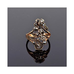 New Collection Adjustable Metal Ring Set with Rose Gold Color Rhinestones 75652