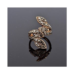 New Collection Adjustable Metal Ring Set with Rose Gold Color Rhinestones 75656