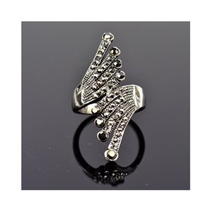 New Collection Adjustable Metal Ring Set with Rhinestone Color Anthracite 75661