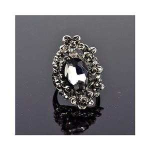 New Collection Adjustable Metal Ring Set with Rhinestone Color Anthracite 75669