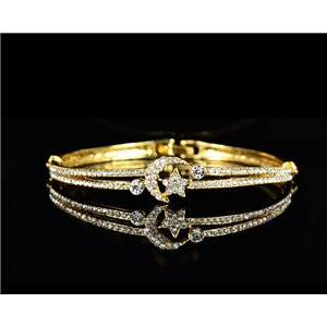 Gold colored metal bracelet Chic Collection set with Rhinestones D55mm L18cm clip clasp 75536