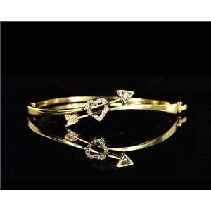 Gold colored metal bracelet Chic Collection set with Rhinestones D55mm L18cm clip clasp 75548
