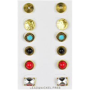 Set of 6p Stud Earrings Ear Studs in Golden Color Blister 75682