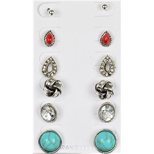 Set of 6p Stud Earrings Ear Studs Metal Silver Color Blister 75687