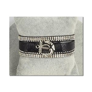 Bracelet Manchette Strass multirang L19cm Collection Ancre de Marine fermoir aimanté 25mm 75394