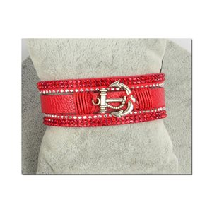 Bracelet Manchette Strass multirang L19cm Collection Ancre de Marine fermoir aimanté 25mm 75397