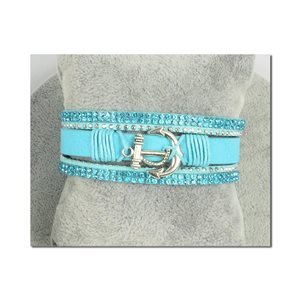 Multistrand Strass Cuff Bracelet L19cm Anchor Collection Marine Magnet Clasp 25mm 75399