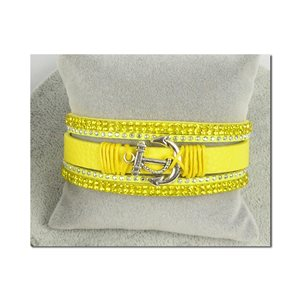 Bracelet Manchette Strass multirang L19cm Collection Ancre de Marine fermoir aimanté 25mm 75400
