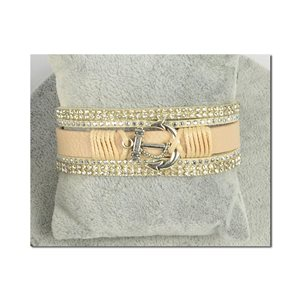 Bracelet Manchette Strass multirang L19cm Collection Ancre de Marine fermoir aimanté 25mm 75401