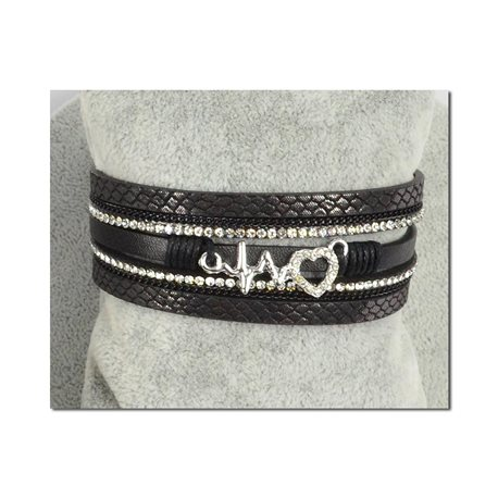 Bracelet Manchette Strass multirang L19cm Collection Coeur de Bijoux fermoir aimanté 25mm 75411