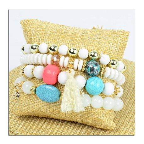 Bracelet CYBELE Cinder 4 rows Collection Bead Charms and Jewelry on elastic thread New Collection 75770
