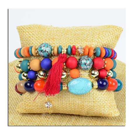 Bracelet CYBELE Cuff 4 Ranks Collection Bead Charms and Jewelry on Elastic Wire New Collection 75772