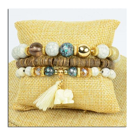 Bracelet CYBELE Manchette 3 rangs Collection Bead Charms et Bijoux sur fil élastic New Collection 75775