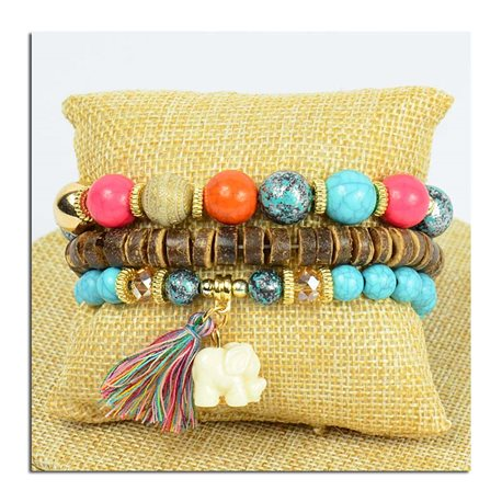 Bracelet CYBELE Cuff 3 Ranks Bead Charms Collection and Jewelry on Elastic Wire New Collection 75776