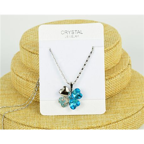 Crystal 4 Hearts Pendant on Silver Metal Chain L41-46cm 75804