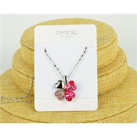 Crystal 4 Hearts Pendant on Silver Chain Metal L41-46cm 75805