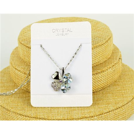 Crystal 4 Hearts Pendant on Silver Chain Metal L41-46cm 75806