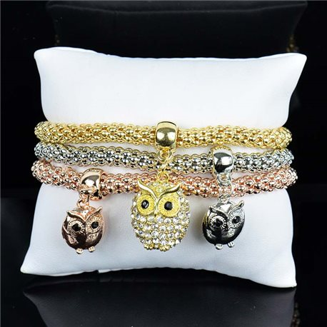 Set of 3 Expandable Charms Bracelets 3 Colors Silver-Gold-Rose Gold 75793