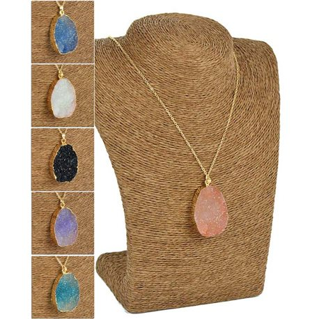 Colorful Quartz Pendant Necklace on Gold Metal Chain L60-65cm 75828