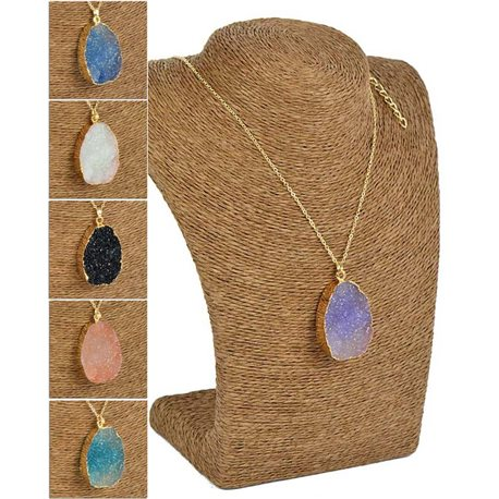 Colorful Quartz Pendant Necklace on Gold Metal Chain L60-65cm 75830