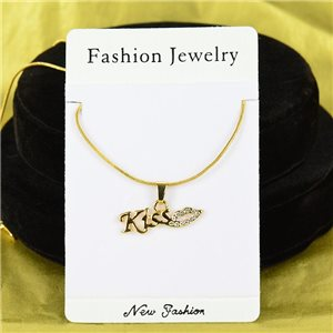 Necklace Rhinestones Pendant IRIS Gold Color Chain snake mesh L40-45cm 75910