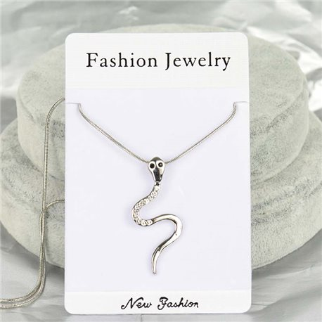 Rhinestone Pendant Necklace IRIS Silver Color Chain snake mesh L40-45cm 75859