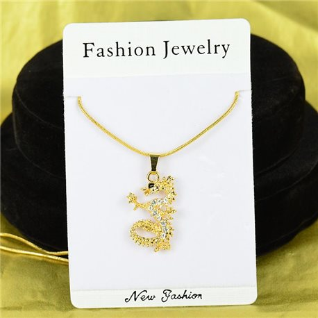 Necklace Rhinestones Pendant IRIS Gold Color Chain snake mesh L40-45cm 75870
