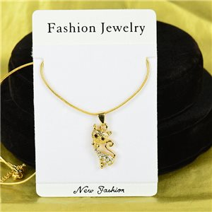 Necklace Rhinestones Pendant IRIS Gold Color Chain snake mesh L40-45cm 75880