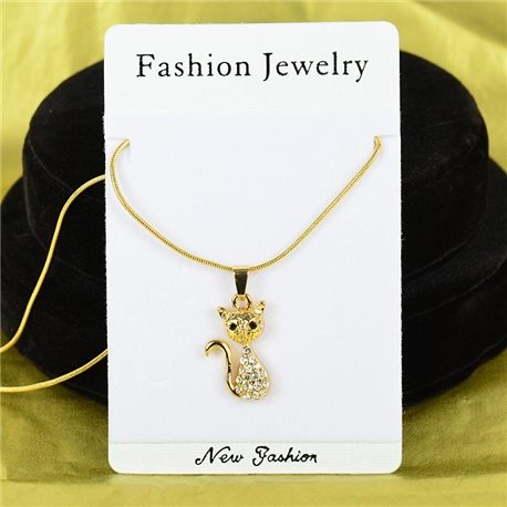 Necklace Rhinestones Pendant IRIS Gold Color Chain snake mesh L40-45cm 75882