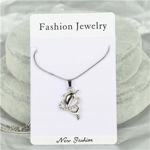 Rhinestone Pendant Necklace IRIS Silver Color Chain snake mesh L40-45cm 75883